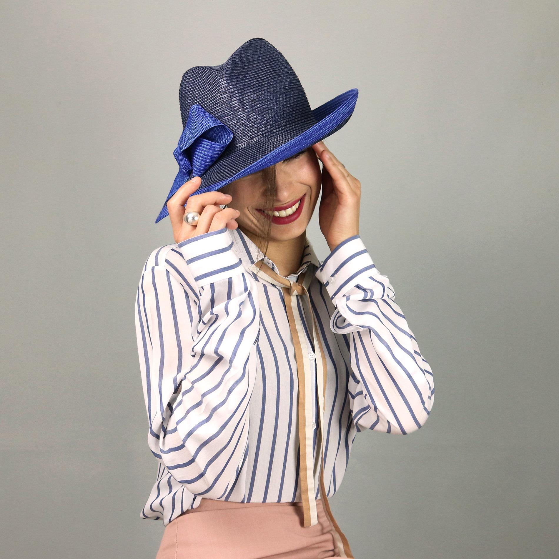 Cappello Borsalino da donna in treccia sintetica 5efa42aff47