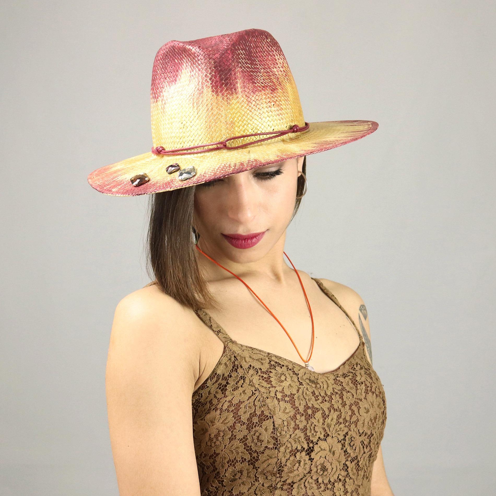 Cappello da donna modello Fedora dipinto a mano ea9dd535a699